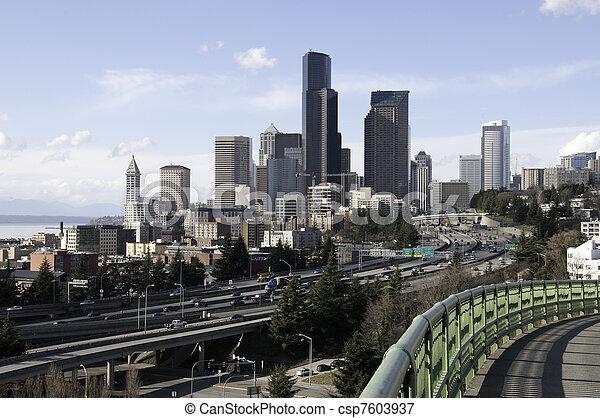 I-5 through Seattle Downtown - csp7603937