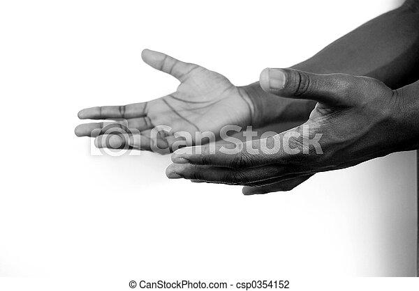 I am here - 2 hands - csp0354152