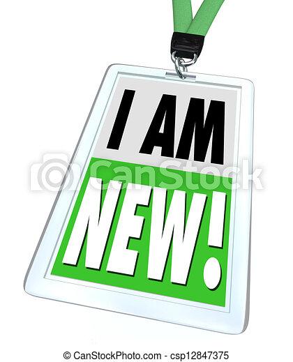 I Am New Badge Lanyard Introduction Meet Networking - csp12847375