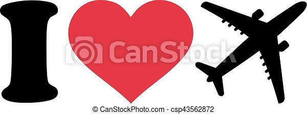 I love airplanes icon - csp43562872