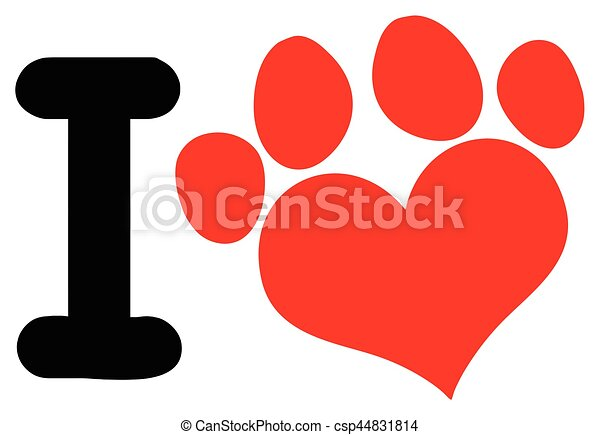Line Art Love Heart : I love animals with red heart paw print logo design vector