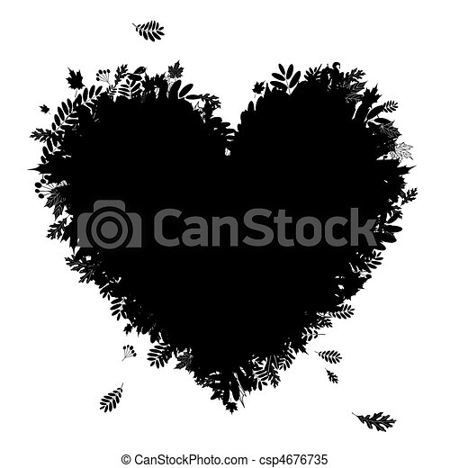 I love autumn! Heart shape from falling leaves, black silhouette - csp4676735