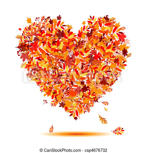 I love autumn! Heart shape from falling leaves - csp4676732