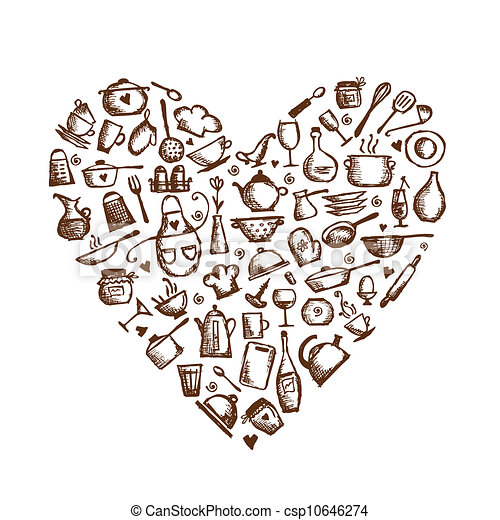 I love cooking! Kitchen utensils sketch, heart shape for your design - csp10646274
