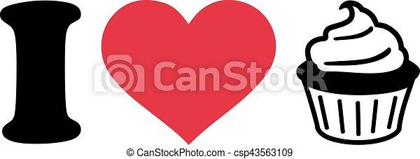 I love Cupcakes icon - csp43563109