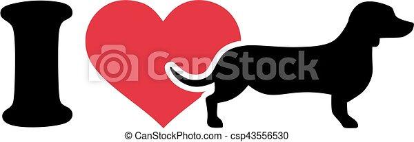I love Dachshund icon - csp43556530