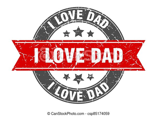i love dad round stamp with ribbon. label sign - csp85174059