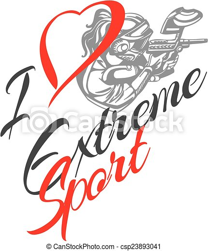I love extreme sport. Paintball player - vector illustration. - csp23893041