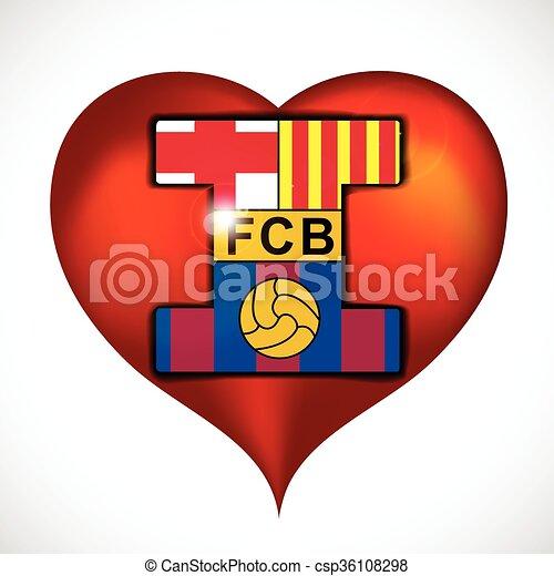 I Love Fc Barcelona Illustration 10 Version