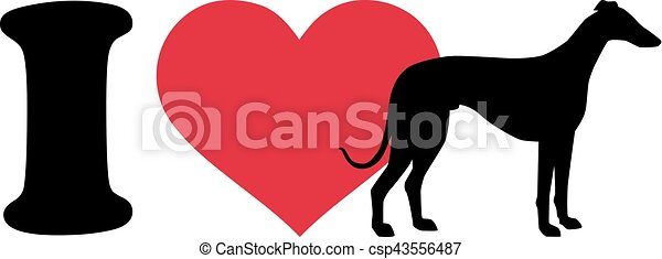 I love Greyhounds icon - csp43556487