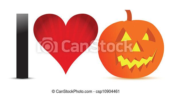 I love halloween pumpkin banner ill - csp10904461