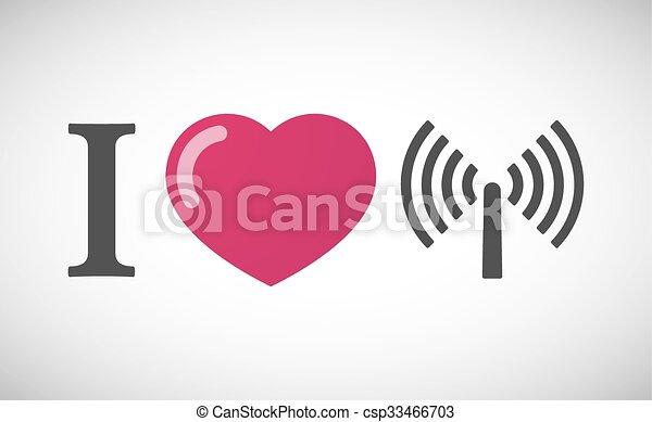 """I love"" hieroglyph with an antenna - csp33466703"