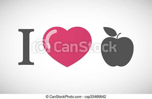 """I love"" hieroglyph with an apple - csp33466642"