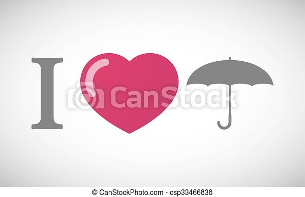 """I love"" hieroglyph with an umbrella - csp33466838"