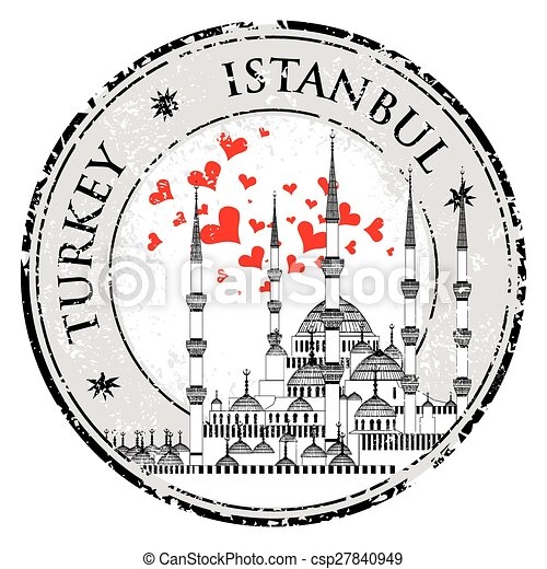 I Love Istanbul Design stamp vector The Blue Mosque, - csp27840949
