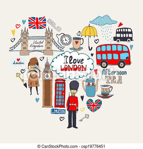 I Love London card design - csp19776451