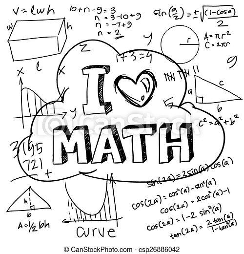 I Love Math Vector Illustration Of Math Formulas Drawn