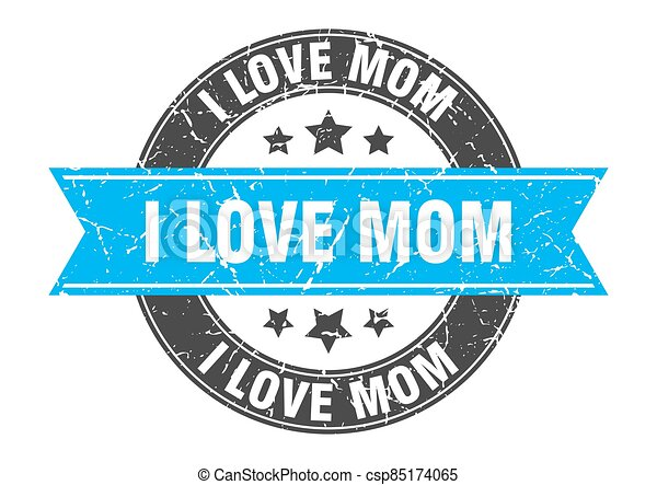 i love mom round stamp with ribbon. label sign - csp85174065