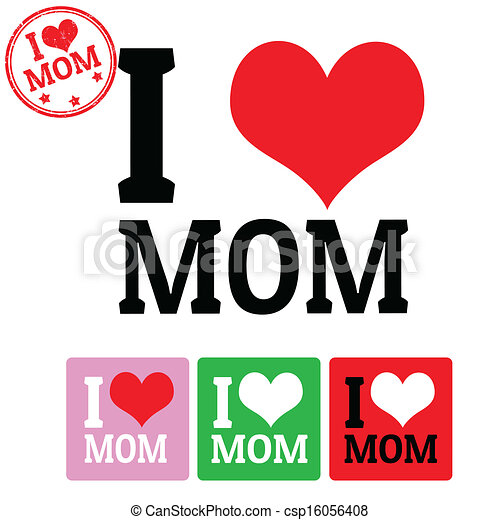 picture relating to I Mom identified as I enjoy Mother signal and labels