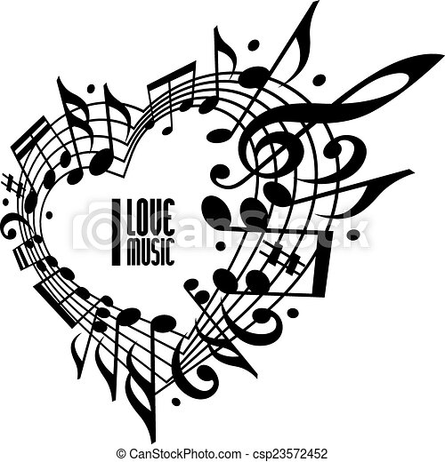 I love music concept black and white design heart made with musical notes and clef black and white design contain copy space inside for your text