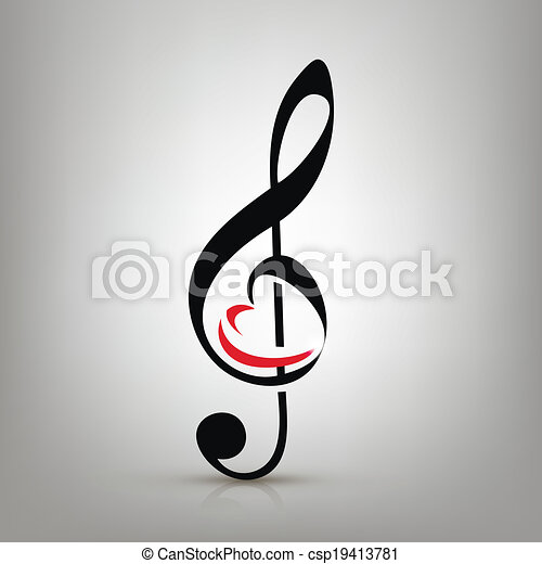 I love music concept, treble clef with an illustration of a heart-shaped - csp19413781