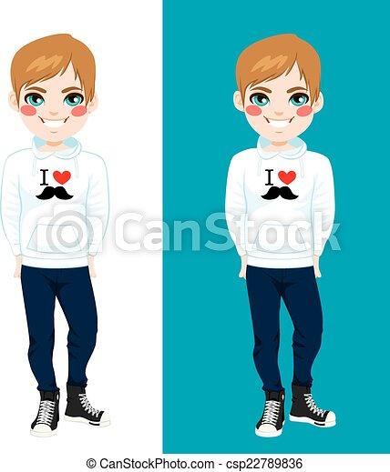 I Love Mustache Sweatshirt Boy - csp22789836