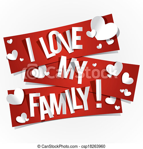 I love my family banners vector illustration.