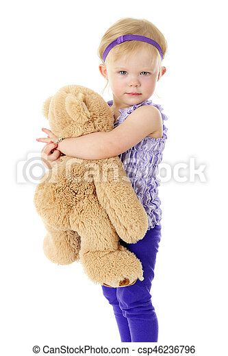 Hay Hay Chicken Stuffed Animal, I Love My Teddy An Adorable 2 Year Old Looking At The Viewer As She Hugs Her Big Fluffy Teddy Bear On A White Background