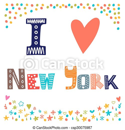 i love new york. cute postcard. greeting card from new york