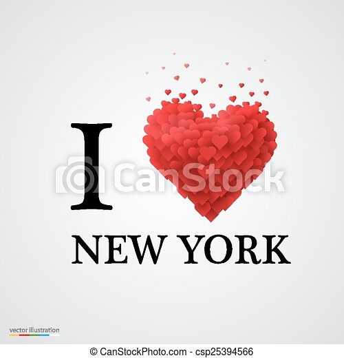i love new york heart sign. i love new york, font type with clip