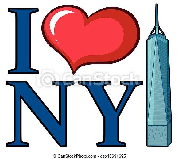 i love new york sign with skyscraper illustration eps vectors rh canstockphoto com skyscraper clipart black and white skyscraper clipart black and white