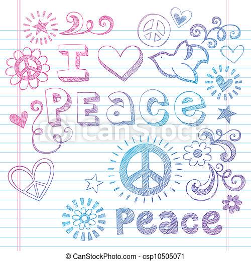 I Love Peace Dove Sketchy Doodles - csp10505071
