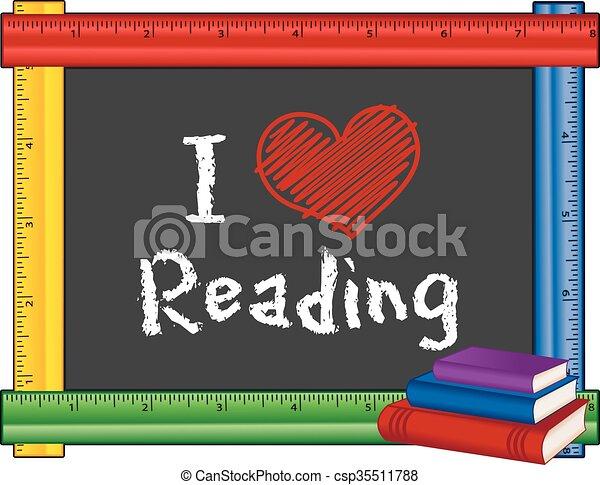 I Love Reading, Ruler Frame - csp35511788
