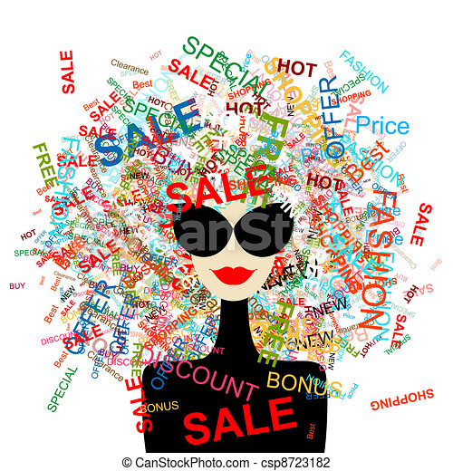 I love sale! Fashion woman with shopping concept for your design - csp8723182