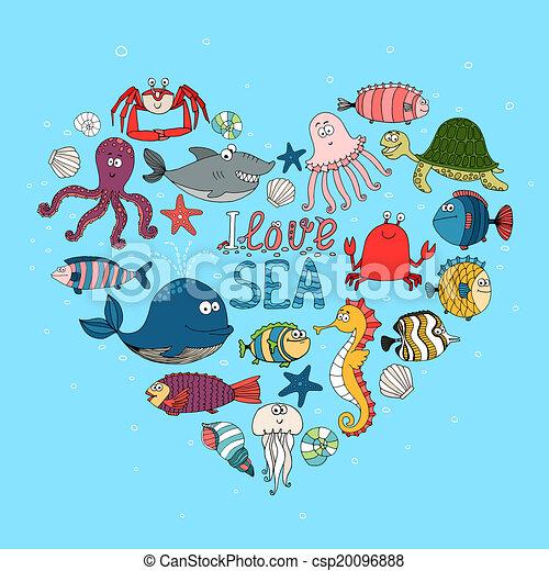 I Love Sea nautical themed design - csp20096888