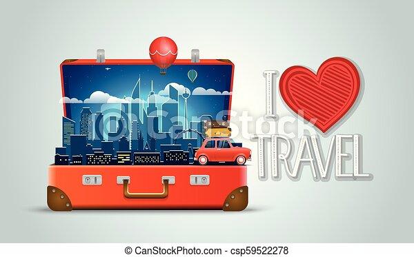 I love travel concept. Modern cityscape night scene - csp59522278