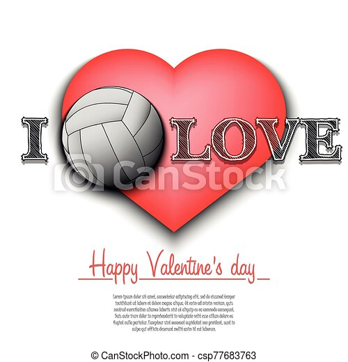 Volleyball heart clipart