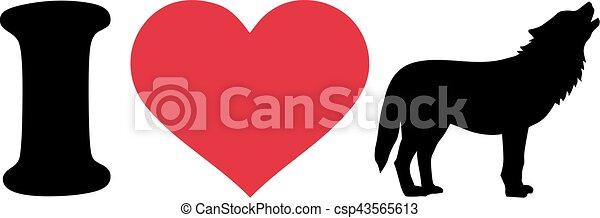 I love wolf silhouette - csp43565613
