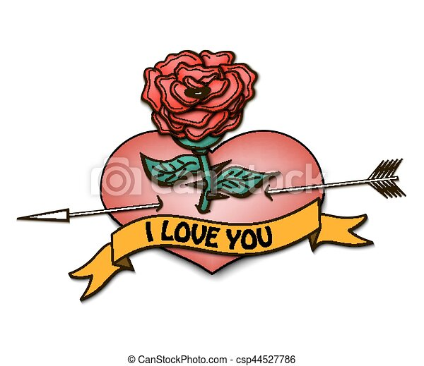 I love you and heart with a rose - csp44527786