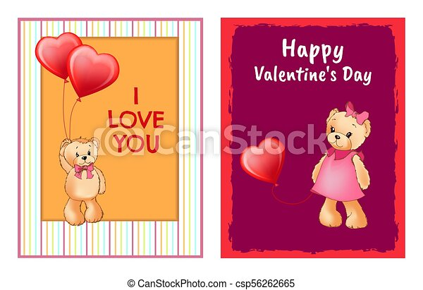 I Love You and Me Teddy Bears Vector - csp56262665