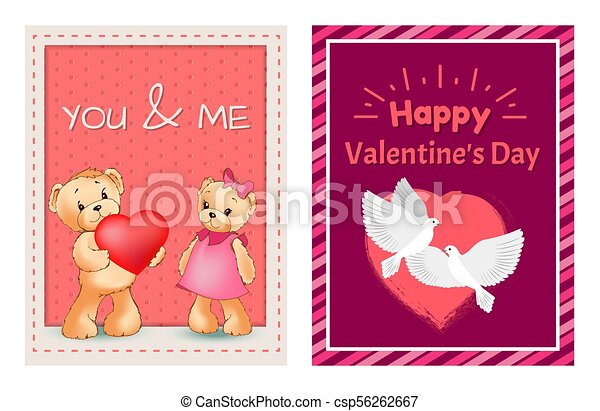 I Love You and Me Teddy Bears Vector - csp56262667