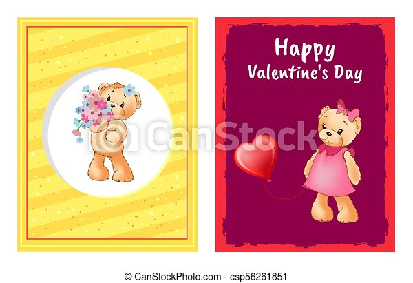 I Love You and Me Teddy Bears Vector - csp56261851