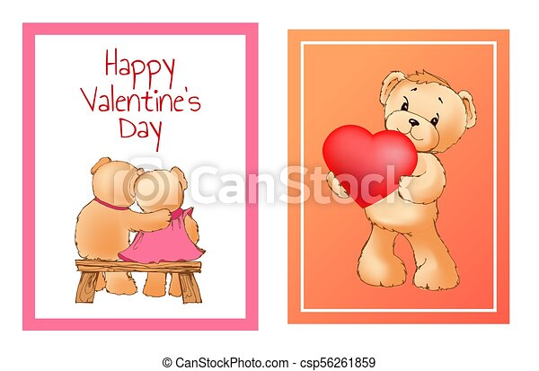 I Love You and Me Teddy Bears Vector - csp56261859