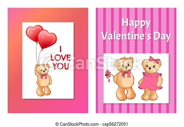 I Love You and Me Teddy Bears Vector - csp56272051