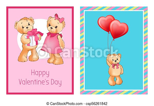 I Love You and Me Teddy Bears Vector - csp56261842