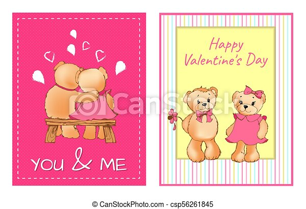 I Love You and Me Teddy Bears Vector - csp56261845