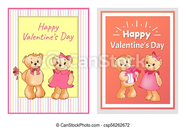 I Love You and Me Teddy Bears Vector - csp56262672