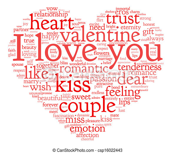 I Love You And Valentine Concept In Word Tag Cloud On White Background Csp