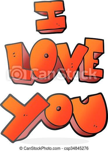 I Love You Cartoon Symbol I Love You Freehand Drawn Cartoon Symbol