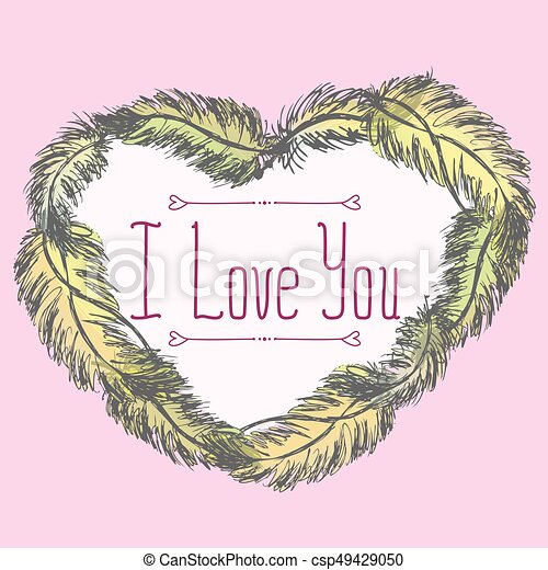 I love you. Greeting card with frame of feathers - csp49429050